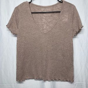 American Eagle Outfitters Brown crop/baby top SZ L